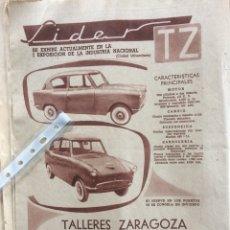Coleccionismo Papel Varios: PUBLICIDAD AUTOMÓVIL TZ LÍDER TALLERES ZARAGOZA DE 1958. Lote 183365852