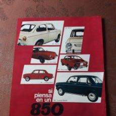 Coleccionismo Papel Varios: PUBLICIDAD DEL COCHE SEAT 850 - 1971 - 33 X 25 CM PAPEL RIGIDO. Lote 184098852