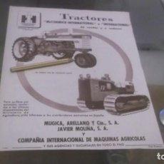 Coleccionismo Papel Varios: RECORTE PUBLICIDAD AÑO 1960 - TRACTORES - MCCORMICK-INTERNATIONAL-MUGICA,ARELLANO Y CIA,S.A.. Lote 184294012