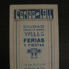 Outros artigos de papel: VALLS-PROGRAMA DE LAS FERIAS Y FIESTAS-OCTUBRE AÑO 1911-VER FOTOS-(V-18.420). Lote 185916888