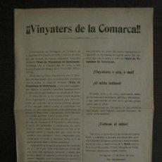 Coleccionismo Papel Varios: TARRAGONA-VINYATERS DE LA COMARCA-UNIO VINYATERS DE CATALUNYA-ANY 1912-VER FOTOS-(V-18.478). Lote 186335131