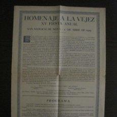 Coleccionismo Papel Varios: SANT SADURNI DE NOYA-HOMENAJE A LA VEJEZ-XV FIESTA ANUAL-AÑO 1929-VER FOTOS-(V-18.479). Lote 186336030