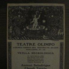 Coleccionismo Papel Varios: TEATRE OLIMPO-ATENEU OBRER-PROGRAMA ANTONI SALADRIGAS & CLAUDI TERRES-ANY 1913-VER FOTOS-(V-18.482). Lote 186337458