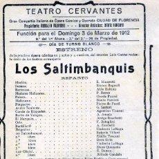 Coleccionismo Papel Varios: PROGRAMA TEATRO CERVANTES MALAGA AÑO1912-CIA OPERA Y OPERETA CIUDAD DE FLORENCIA-LEER DESRIPCIÓN .. Lote 187241317