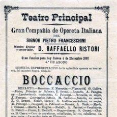 Coleccionismo Papel Varios: PROGRAMA TEATRO RINCIPAL DE MALAGA AÑO1890-CIA.OPERETA ITALIANA DEL SR.PRIETO FRANCESCHINI-LEER .. Lote 187288582
