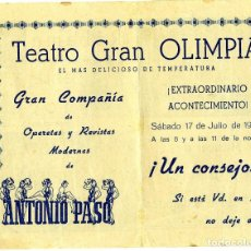 Coleccionismo Papel Varios: PROGRAMA TEATRO GRAN OLIMPIA AÑO1948-CIA.DE REVISTA ANTONIO PASO-VER FOTOS ADICIONALES DEL PROGRAMA.. Lote 187294148