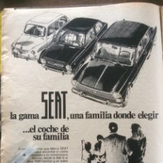 Coleccionismo Papel Varios: PUBLICIDAD AUTOMÓVIL SEAT 1400 850 600 DE 1966. Lote 187324710