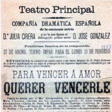 Coleccionismo Papel Varios: PROGRAMA TEATRO PRINCIPAL DE MALAGA AÑO 1888-CIA. DªJULIA CIRERA-PRIMER ACTOR JOSÉ GONZALEZ-LEER .. Lote 187413677