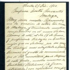 Coleccionismo Papel Varios: CARTA ORIGINAL DIRIGIDA A LA EMPRESA DEL TEATRO CERVANTES DE MALAGA AÑO 1910-LEER DESCRIPCIÓN .. Lote 187485481