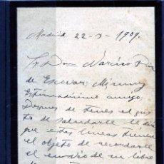 Coleccionismo Papel Varios: CARTA ORIGINAL DIRGIDA A D.NARCISO DIAZ DE ESCOVAR AÑO1909-CONTIENE 3 PAG.ESCRITAS-LEER DESCRIPCIÓN.. Lote 187491005
