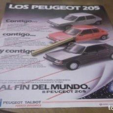 Coleccionismo Papel Varios: RECORTE PUBLICIDAD AÑOS 80 - AUTOMOVIL PEUGEOT 205. Lote 187495055