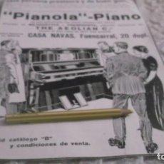 Coleccionismo Papel Varios: RECORTE PUBLICIDAD AÑO 1907 - PIANOLA -PIANO - THE AEOLIAN Cº- CASA NAVAS -MADRID. Lote 189244562