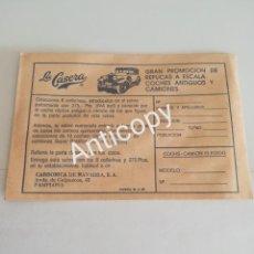Coleccionismo Papel Varios: RARO SOBRE LA CASERA AÑOS 80 COCHES GUISVAL. Lote 189403188
