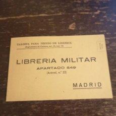 Coleccionismo Papel Varios: TARJETA PARA PEDIDO DE LIBRERÍA MILITAR.. Lote 189768312