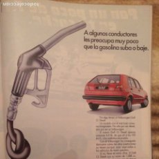 Coleccionismo Papel Varios: PUBLICIDAD AUTOMÓVIL VW GOLF DE 1986. Lote 189962011
