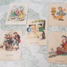Coleccionismo Papel Varios: 5 POSTALES AÑOS 40 - 50 NIÑOS Y REGIONALES. Lote 189992833