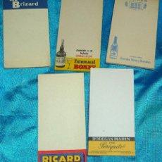 Coleccionismo Papel Varios: LIBRETAS DE BAR,CAMARERO,PUBLICIDAD,LOTE DE 5 PERFECTAS- LEER Y VER FOTOS. Lote 190591757