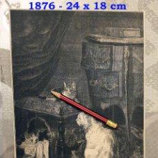 Coleccionismo Papel Varios: HUECOGRABADO - SALON DE 1876 - EN FAMILIA - 24 X 18 CM - 1876. Lote 190712971