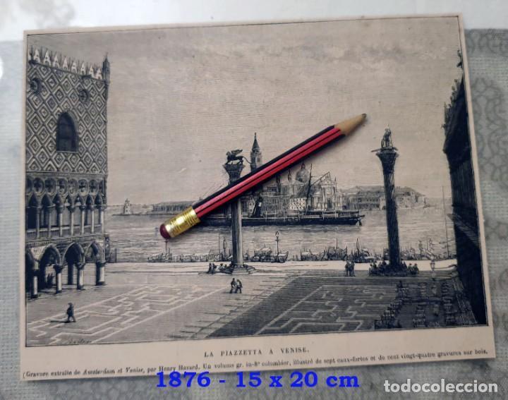 HUECOGRABADO - VENECIA - LA PIAZETTA - 15 X 20 CM - 1876 (Coleccionismo en Papel - Varios)
