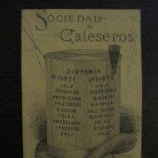 Coleccionismo Papel Varios: SOCIEDAD DE CALESEROS DE SAN ANTONIO ABAD-BAILES-TARJETA PUBLICIDAD ANTIGUA-VER FOTOS-(V-18.735). Lote 190764605