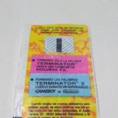 Coleccionismo Papel Varios: CHICLE NINTENDO GAME BOY - TERMINATOR 2 - PREMIO - LETRA I - 28-06-1992 - RAREZA. Lote 190774796