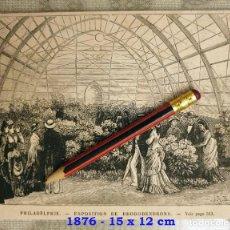 Coleccionismo Papel Varios: HUECOGRABADO - PHILIADELPHIA - EXPOSICIÓN DE RODODENDRONES - 15 X 12 CM -1876. Lote 190892351