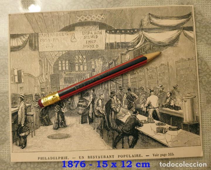 HUECOGRABADO - PHILADELPHIE - RESTAURANTE POPULAR - 15 X 12 CM -1876 (Coleccionismo en Papel - Varios)