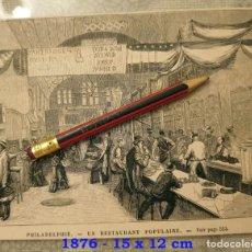 Coleccionismo Papel Varios: HUECOGRABADO - PHILADELPHIE - RESTAURANTE POPULAR - 15 X 12 CM -1876. Lote 190894772