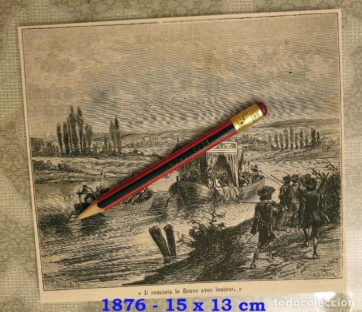HUECOGRABADO - SUBIENDO EL RIO CON LENTITUD - 15 X 13 CM -1876 (Coleccionismo en Papel - Varios)