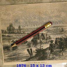 Coleccionismo Papel Varios: HUECOGRABADO - SUBIENDO EL RIO CON LENTITUD - 15 X 13 CM -1876. Lote 190895233