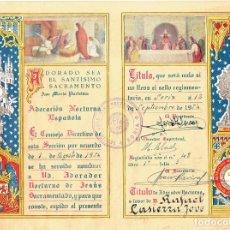 Coleccionismo Papel Varios: DIPLOMA ADORACIÓN NOCTURNA ESPAÑOLA. 1954. Lote 191666850