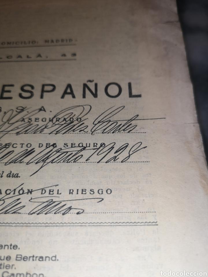 Coleccionismo Papel Varios: Póliza año 1928 la unión y el fénix español - Foto 2 - 191800396