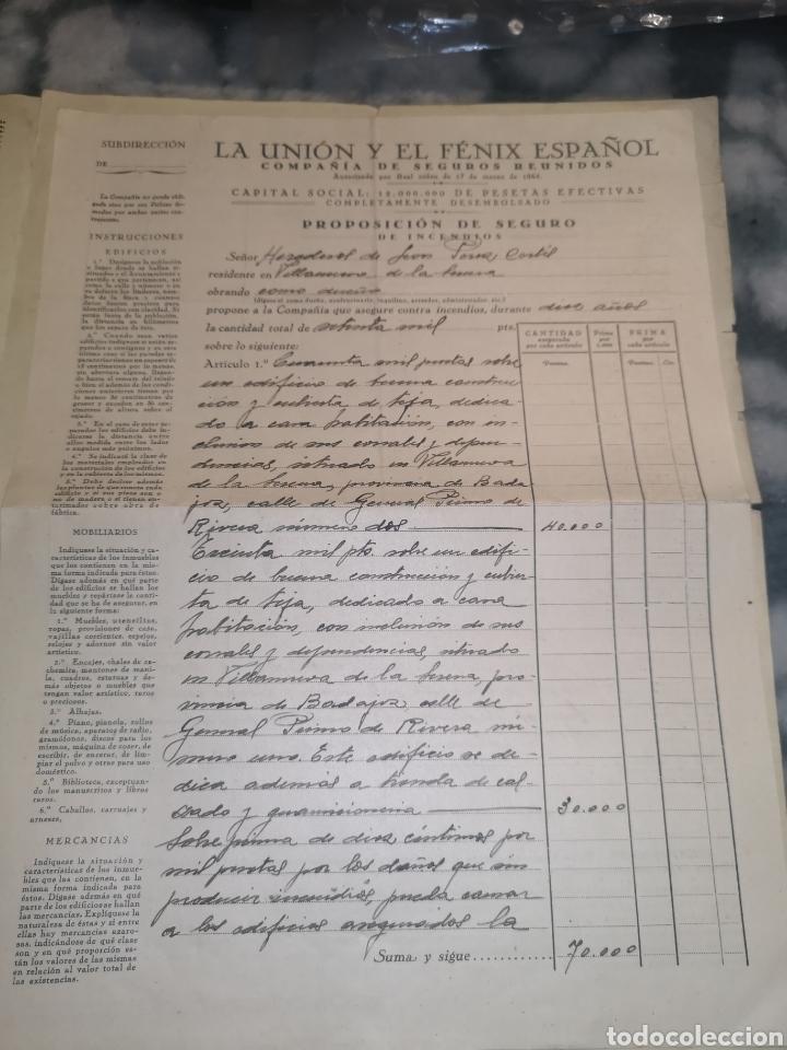 Coleccionismo Papel Varios: Póliza año 1928 la unión y el fénix español - Foto 3 - 191800396