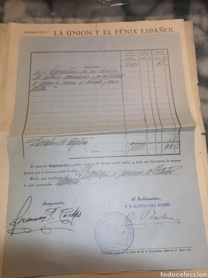 Coleccionismo Papel Varios: Póliza año 1928 la unión y el fénix español - Foto 4 - 191800396