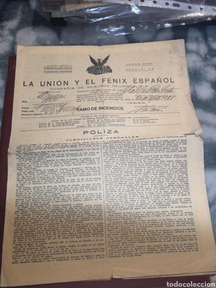 PÓLIZA AÑO 1928 LA UNIÓN Y EL FÉNIX ESPAÑOL (Coleccionismo en Papel - Varios)
