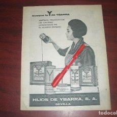 Outros artigos de papel: HIJOS DE YBARRA S A SEVILLA - RECORTE - PUBLICIDAD DE REVISTA AÑO 1962 - VER DETALLES. Lote 192392211