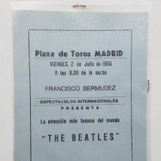 Coleccionismo Papel Varios: ANTIGUA PUBLICIDAD CONCIERTO THE BEATLES MADRID PLAZA TOROS 2 DE JULIO DE 1965 (AZUL). Lote 229510830