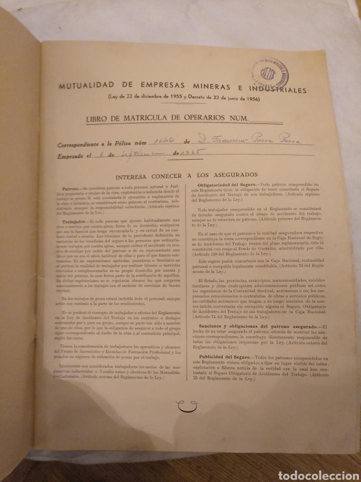 Coleccionismo Papel Varios: 1.2 Libro de Matrícula de operarios.Mutualidad de empresas mineras e industriales. Linares. Año 1965 - Foto 2 - 194246228