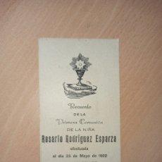Coleccionismo Papel Varios: ANTIGUA ESTAMPA RELIGIOSA PRIMERA COMUNIÓN MURCIA 1922. Lote 194752472