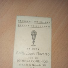 Coleccionismo Papel Varios: ANTIGUA ESTAMPA RELIGIOSA PRIMERA COMUNIÓN CARTAGENA 1936. Lote 194752666