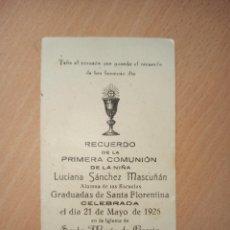 Coleccionismo Papel Varios: ANTIGUA ESTAMPA RELIGIOSA PRIMERA COMUNIÓN CARTAGENA 1926. Lote 194753206