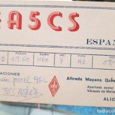 Coleccionismo Papel Varios: TARJETA RADIOAFICIONADO MAYANS QUES ALICANTE 1961. Lote 194777760