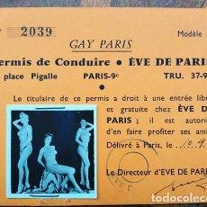 Coleccionismo Papel Varios: PASE DE ESPETÁCULO DE VARIEDADES ÈVE DE PARIS . Lote 194880527