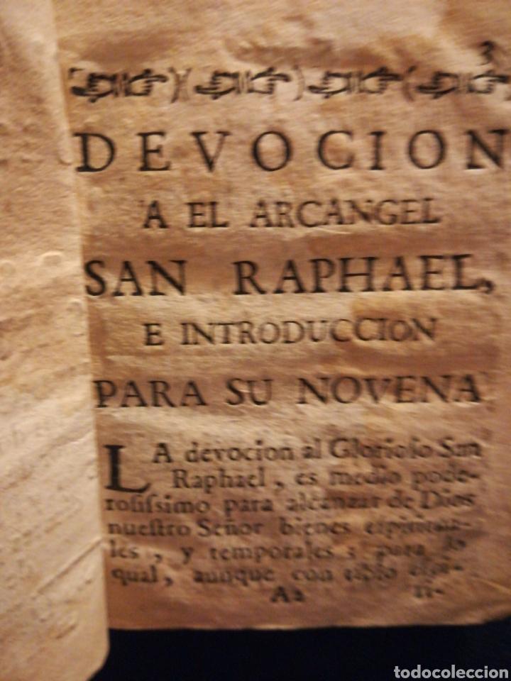Coleccionismo Papel Varios: Sagrado Arcángel San Raphael Novena y Devoción Madrid Siglo XVIII - Foto 2 - 194901918