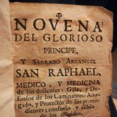 Coleccionismo Papel Varios: SAGRADO ARCÁNGEL SAN RAPHAEL NOVENA Y DEVOCIÓN MADRID SIGLO XVIII. Lote 194901918
