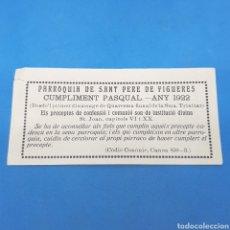 Coleccionismo Papel Varios: (ER.03) FASCÍCULO PARROQUIA DE SANT PERE DE FIGUERES. 1922. Lote 194903086