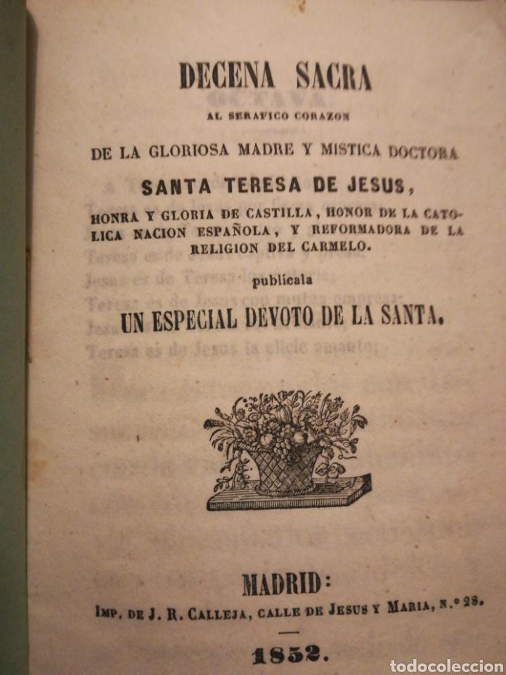 DECENA SACRA DE LA GLORIOSA MADRE SANTA TERESA DE JESÚS MADRID J R CALLEJA 1852 (Coleccionismo en Papel - Varios)