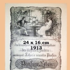 Coleccionismo Papel Varios: PARFÜMERIE GUSTAV LOHSE - BERLIN - PARFUM LILAS - AÑO 1913 - 24 X 16 CM. Lote 194907925