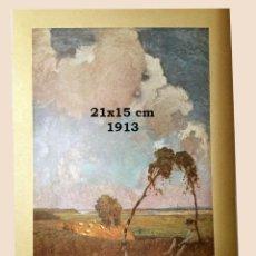 Coleccionismo Papel Varios: CROMO SOBRE CARTULINA - LITOGRAFIA DE LA PINTURA DE LANGHAMMER - AÑO 1913 - 21 X 15 CM. Lote 194908120