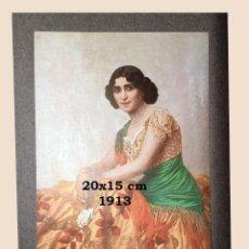 Coleccionismo Papel Varios: UN CROMO SOBRE CARTULINA - LITOGRAFIA DE LA PINTURA DE LUDWIG VON LANGENMANTEL - AÑO 1913 - 21 X 1. Lote 194908207
